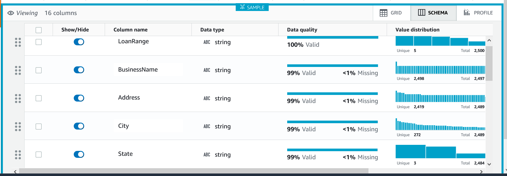 DataBrew Schema